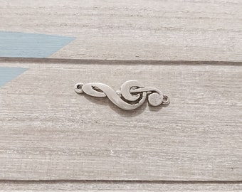 1 connector  treble clef. 38x12mm High quality metal zamak