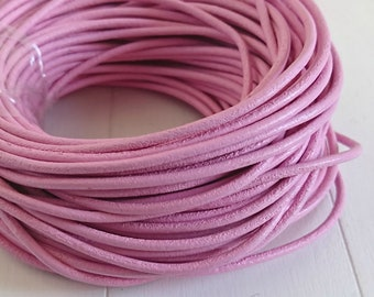 2mm round leather. Pink.