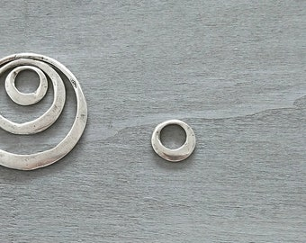 Small Hoop pendant 20mm. Zamak Silver Bath. Diy