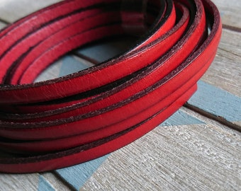 Red leather 5x2mm 1 meter. leather for bracelets. European leather of high quality.