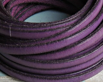 Purple leather 5x2mm 1 meter. leather for bracelets. European leather of high quality.