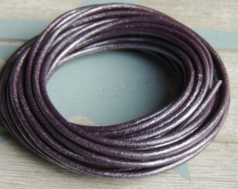 2mm round leather. Metallic Purple.