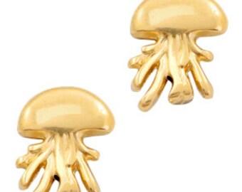 Slider Golden jellyfish. 16x12mm. 1 unit. brass