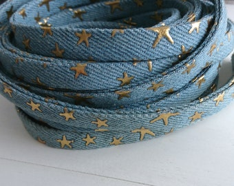 Dark blue denim fabric strip with golden stars. 10mm Cowgirl strip for bracelets