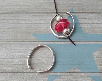 semi circular pendant. 40mm Intern 1 pc zamak silver