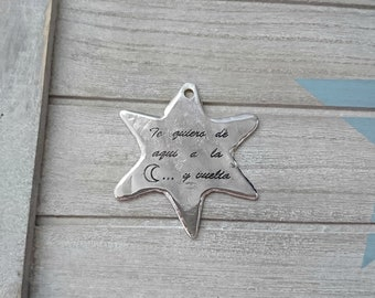 1 Star pendant with text. 57x55mm metal zamak high quality