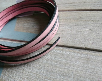 Pale pink leather. 5x2mm sale for 1 meter. High quality European leather
