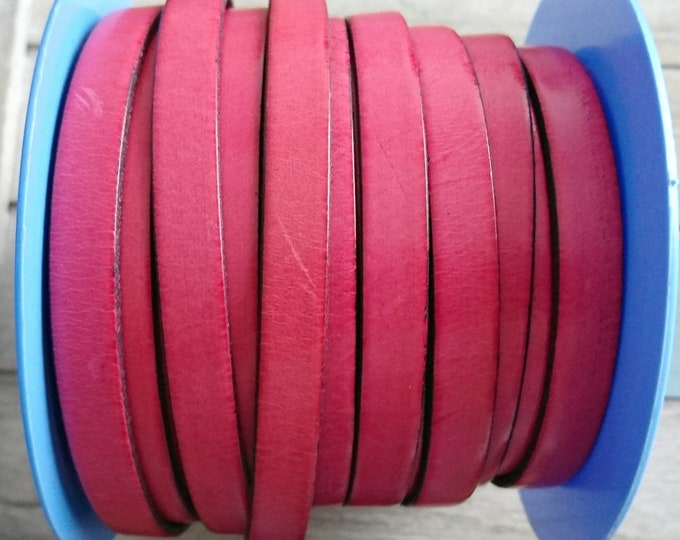 Fuchsia pink leather. 10x2mm sale for 1 meter. High quality European leather