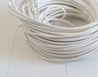 White round leather. 2mm leather for jewelry. European leather