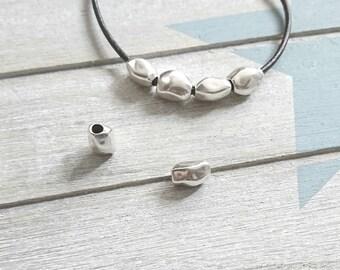 Irregular tube. 4 pcs. Zamak. 8x11mm. Pin Tube Bracelet and necklaces