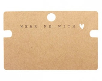 Jewelry card for bracelet. Wear Me With love. 10 units. 10x6mm.