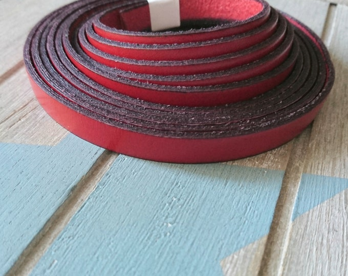 Red leather 10x2mm sale for 1 meter. High quality European leather