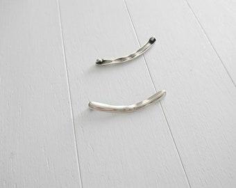 51x5mm Curved connector Pendant. Zamak Silver Bath. Diy