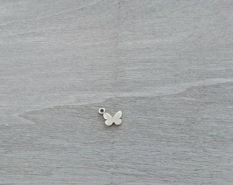 Butterfly pendant. 15x14mm DIY silver zamak
