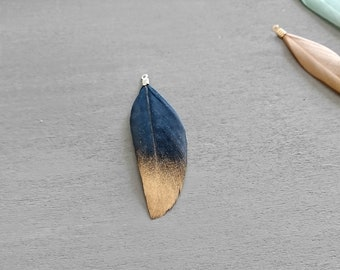 2 blue night feather with golden glitters. 5.5 cms.