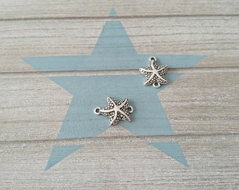 1 Connector Starfish. 24x18mm. Silver Zamak for handmade bracelet