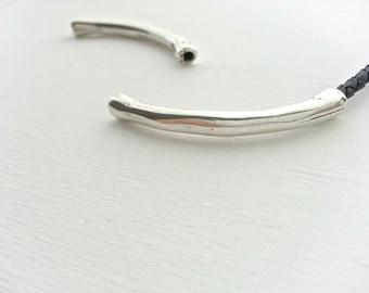 Irregular tube 50mm. No intern. tube for bracelet made by hand. silver zamak