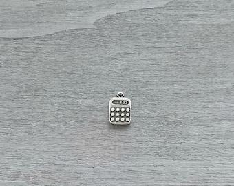 Pendant calculator. 15x13mm. Zamak Silver Bath. Diy