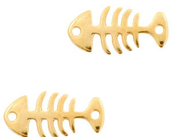 Golden fish connector. 21x10mm. 2 units. brass
