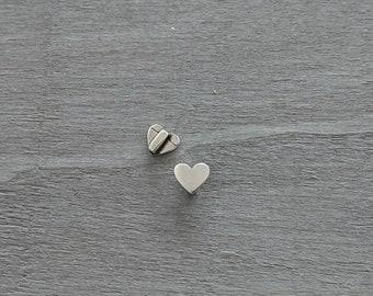 Heart sliders 11x10mm Inside pass 5mm. 2 units. Zamak silver