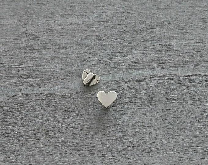4mm slider heart. silver zamak
