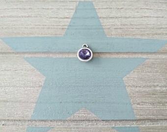 1 Round pendant with purple swarovski. 14x11mm High quality silver zamak metal.