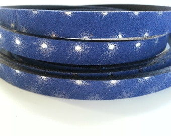 50cms. Blue split leather strap with reflections. width 10mm.