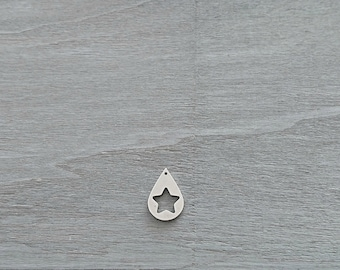Drop pendant with Puff star. 25x17mm. Zamak. Diy.