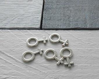 female symbol Pendant. 24x14 millimeters. Zamak Silver