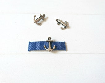 10mm slider. Anchor. Diy Bracelet. zamak plated