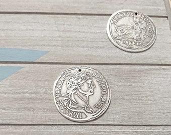 1 Antique silver 41mm zamak Roman coin pendant. diameter