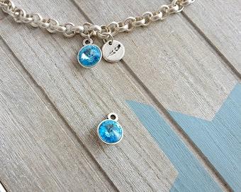 Swarovski blue round pendant. 23x15mm 1 unit. silver zamak