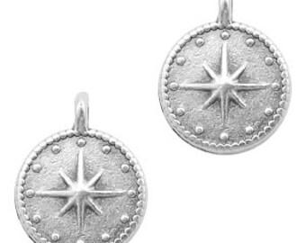 Star galaxy pendant. 2 unit. 15x12mm antique silver brass