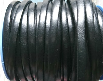 Black leather 5x2mm sale for 1 meter. High quality European leather