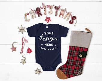 644f34b8b Navy Bella Canvas 134B Triblend Christmas Baby Romper Suit Mockup, One  Piece Xmas Themed Body Suit Flat Lay, Baby Boy Girl Mock Up