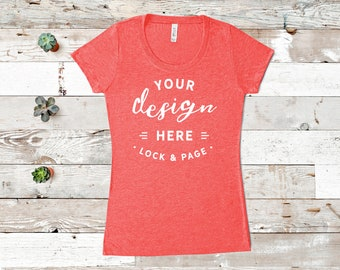 6aa3ed9a Red Bella Canvas 8413 Triblend T-Shirt Mockup Women's Flat Lay Beach House  Wooden Floor Background