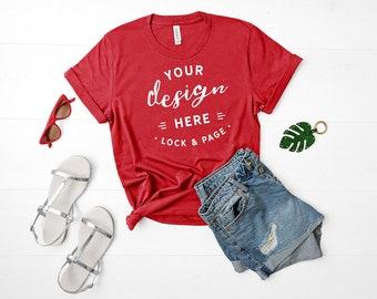 Download Free Bella Canvas 3001 Mockup Canvas Red Unisex TShirt Flat Lay Denim Shorts Mockup Summer Fashion Mock Up Cute Feminine Apparel Mockup PSD Template