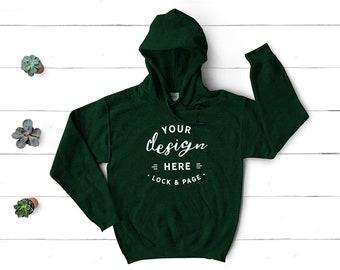3deda309e3 Gildan 18500 Forest Green Hooded Sweatshirt Mockup, Winter Cotton Hoodie  Flat Lay On White Wood