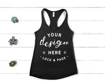 Download Free Black Muscle Tank Top Mockup Next Level 1533 Flat Lay Ladies Summer Racerback Workout Gym Vest Beach Apparel White Wood Backdrop PSD Template
