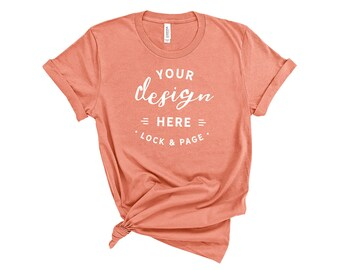 Download Free Sunset Bella Canvas 3001 T-Shirt Mockup On Basic White Background Feminine Knotted T Shirt Clean Shirt Mockup No Props PSD Template