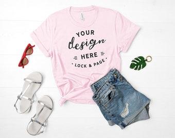 Download Free Bella Canvas 3001 Mockup Pink Unisex TShirt Flat Lay Denim Shorts Mockup Summer Fashion Mock Up Cute Feminine Apparel Mockup PSD Template