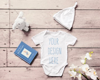 edb75d88bbf2 Bella Canvas 134B White Baby Romper Suit Mockup One Piece