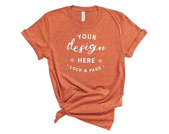 Download Free Heather Orange Bella Canvas 3001 T Shirt Mockup On Plain White Background Women's Knotted Feminine T-Shirt POD Shop Mock Up Flat Lay PSD Template