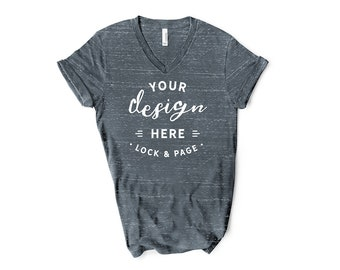 Download Free Charcoal Marble Bella Canvas 3005 V-Neck T Shirt Mockup Short Sleeve Unisex Flat Lay On Clean White Background PSD Template