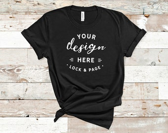 Download Free Black Bella Canvas 3001 TShirt Mockup Plain Beach House Background Women's Knotted T-Shirt POD Shop Mock Up Wood Floor Flat Lay PSD Template