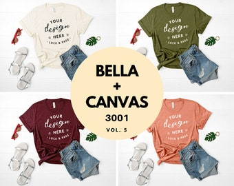 Download Free T Shirt Mockup Bundle Bella Canvas 3001 T-Shirt Flat Lay Bundle Soft Cream Maroon Sunset Olive Feminine Ladies Fashion TShirt Mockups Vol. 5 PSD Template