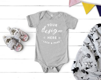 cad299db4 Bella Canvas 100B Mockup, Baby Toddler One Piece Mockup, Athletic Heather  Short Sleeve Unisex Romper Body Suit Jersey, Girl Or Boy