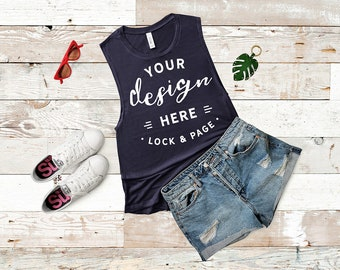 Download Free Bella Canvas 8803 Mockup Midnight Navy Flowy Scoop Muscle Tank Top Mockup Racerback Ladies Summer Gym Vest Flat Lay Rustic Wooden Backdrop PSD Template