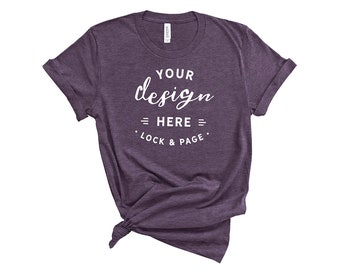 Download Free Heather Team Purple Bella Canvas 3001 T Shirt Mockup On Plain White Background Women's Knotted T Shirt POD Shop Mock Up Flat Lay PSD Template