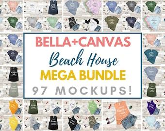 T-Shirt Mockup Mega Bundle Bella Canvas 3001 3480 2000 8803 Beach House Style Mockup Collection Summer Holiday Apparel Flat Lay Rustic Wood